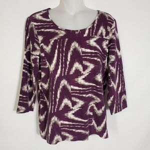 Chicos 3/4 Sleeve Top Purple Scoop Neck Stretch